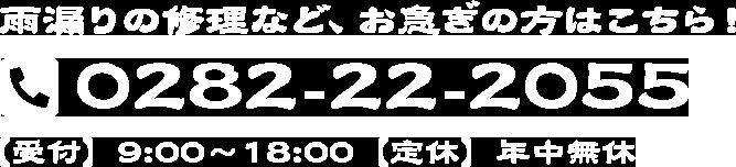 雨漏りの修理など、お急ぎの方はこちら! 0282-22-2055 【受付】9:00~18:00【定休】年中無休